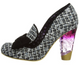 Irregular Choice Oz 2, High Heel loafer with Tweed and oversized bow- Black Colorway