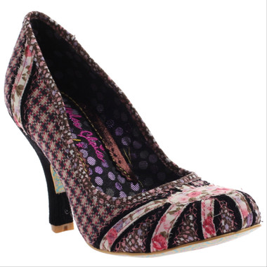 Irregular Choice Patty Pat 2, Tweed and floral mix pattern pump, Brown and Pink colors.
