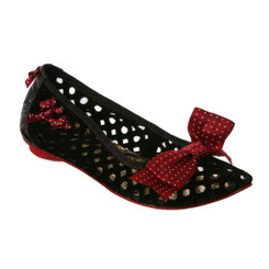 Women's Flats, Irregular Choice Basket Glory, Black perforated leather with Red Bows