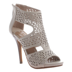 Women's Sandals, Madeline Girl Ravaging, Open toe high heel sandal with cut out pattern. Color cost bone (pale grey)
