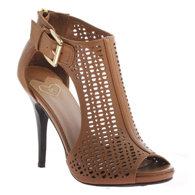 Women's Shoes, Madeline Girl- Rivera High Heel Sandal, open toe, cut out sides, color bark (brown)