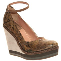 Women's Shoes, Bacio 61 Grotto, Women's Wedge, Brown reptile leather, contrast stripe sole, ankle strap