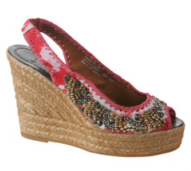 Women's Shoes, Bacio 61 Dalmine, Women's slingback wedge with tie dye and beading detail, red tie dye.