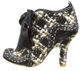 Women's Bootie, Irregular Choice Abigail's Party Too, Black Plaid, Wool plaid and black leather, oversize bow