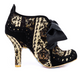 Women's Bootie, Irregular Choice Abigail's Party Too, Black Floral Corduroy, Wool plaid and black leather, oversize bow