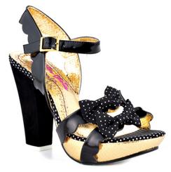 Women's Shoes, Irregular Choice Ariel's Treasure, Platform High Heel Sandals, Patent Leather and polka dot bow, Black