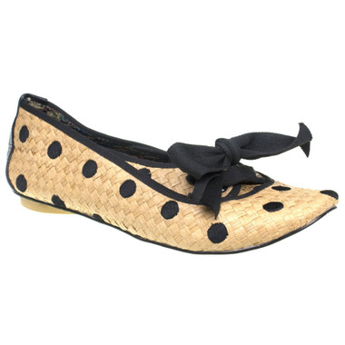 Women's Flats, Irregular Choice Kiss on the Lips.  Wicker Flat with polka dots, piping and oversized bow. Black
