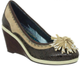 Women's Wedge, Irregular Choice Paradiso, Retro Wedge with pom pom, mix leather and suede, brown