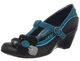 Women's Wedge, Irregular Choice Pick A Posy, T-strap Mary Jane Wedge, Blue and Black