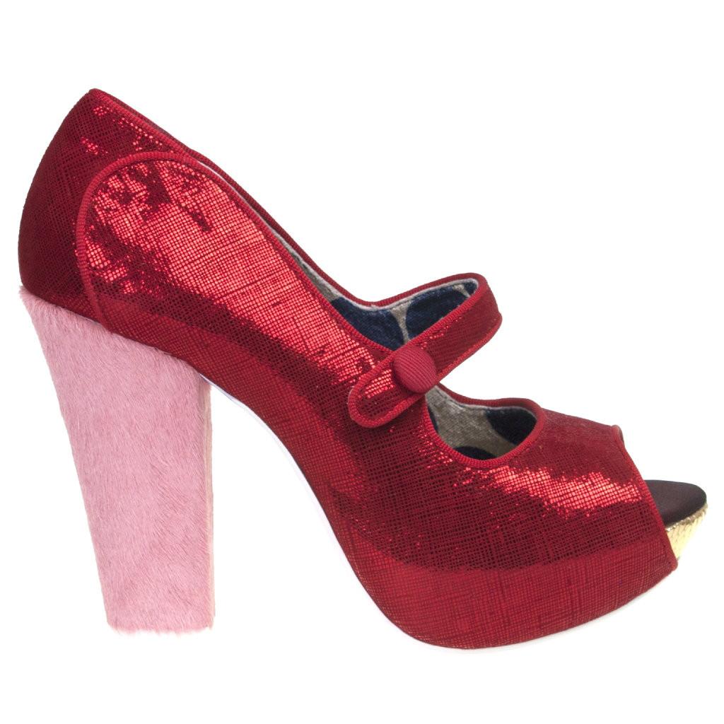 822ab85919 Women's Pump, Irregular Choice Sightseeing, Metallic red peep toe mary jane  pump, pink