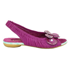 Women's Sandal, Irregular Choice Love Birds, Sling back leather sandal with floral appliqu_______- Dark Pink