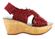 Women's Wedge, Irregular Choice Laugh Cut Loud, Huarache Wedge Sandal, Red