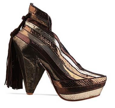 Women's Heels, Irregular Choice Half Eaten Apple, Bronze and Gold Stripe, Gem Heel