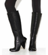Full View: Women's Shoe, Tall Pleated Knee High Boot, Gem Cut Heel, Black