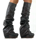 Women's Shoes, Convertible boot, Irregular Choice Sugar N Candy, Leather Wedge and Slouchy Boot, Dark Grey Leather