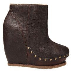 Women's Shoes, Convertible boot, Irregular Choice Sugar N Candy, Leather Wedge and Slouchy Boot, Chocolate Brown Leather