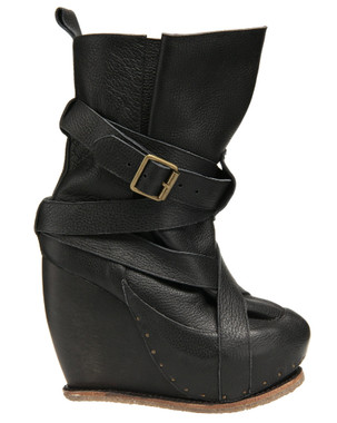 Women's Shoes, Irregular Choice The Beast, Platform Leather Wedge boot with Buckles, Black