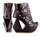 Women's shoes, Irregular choice Velocity, Cut out wedge platform ankle boot, quilted leather with studs, Black