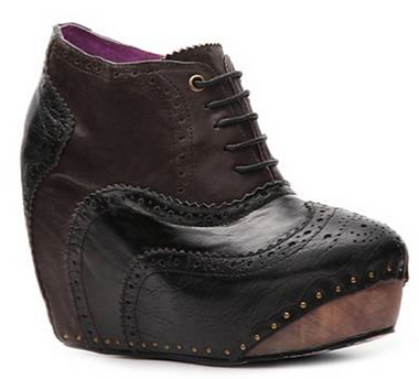 Women's Shoes, Women's unique shoes, Irregular Choice What an Angel, Oxford Style Lace up Wedge platform, Color Black