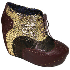 Women's Shoes, Women's unique shoes, Irregular Choice What an Angel, Oxford Style Lace up Wedge platform, Color Brown Gold, Mix Distressed Gold Leather & Brown Leather