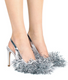Women's Shoes, Jeffrey Campbell Noel, Tinsel Slingback in Silver, High Heel Shoes