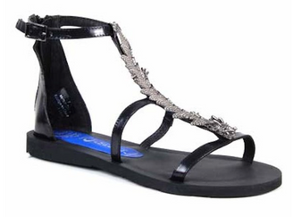 Women's Shoes, Jeffrey Campbell Mushu, Flat gladiator sandal metal ornament, Black and Pewter metal