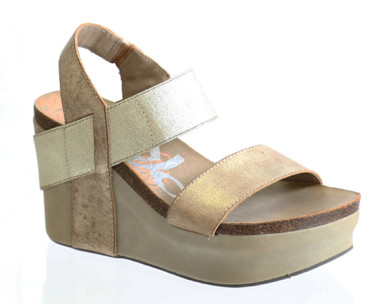 Women's Shoes, OTBT Bushnell, Open toe Wedge with elastic strap, New Gold