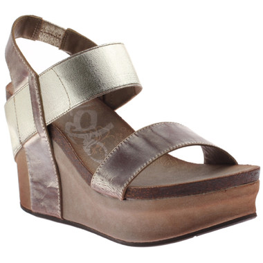 Women's Shoes, OTBT Bushnell, Open toe Wedge with elastic strap, Gold color way. Metallic brown front toe and back ankle strap.  Metallic Gold front ankle strap.