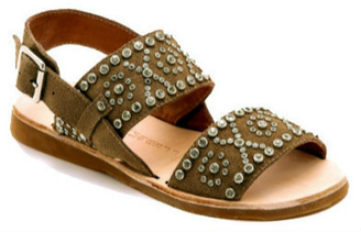 Quarter View:  Women's Shoes, Jeffrey Campbell Patras, Suede Flat Sandal with Crystals, Tan Brown