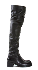 Side View: Women's Shoes, Boots, Jeffrey Campbell Sergeant, Over the knee boot, Black, chunky heel