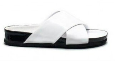 Side View: Women's Shoes, Jeffrey Campbell Menorca, Criss Cross Slip on Sandal, Patent leather, white and black sole