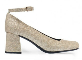 Side View:  Women's Shoes, Heels, Jeffrey Campbell Sweet Jane, Glitter Mary Janes, Block heel rounded toe, Gold Silver