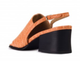 Back view: Women's Shoes, Jeffrey Campbell Loring, Block heel square toe slingback sandal, Orange croc leather