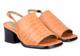 Front View: Women's Shoes, Jeffrey Campbell Loring, Block heel square toe slingback sandal, Orange croc leather