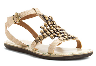 Women's Shoes, Dorrie by Nicole, Flat sandal with metal decor at front, Ivory