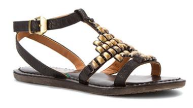 Quarter View: Women's Shoes, Sandals, Nicole Shoes Dorrie Flat sandal, Sandal with metal brushed decor, Black