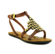 Women's Shoes, Flat Sandal with gold metal beading, Havana Brown with rubber sole