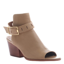 Women's Shoes, Nicole shoes Talullah, Open toe covered bootie sandal, Tan leather with gold buckle.