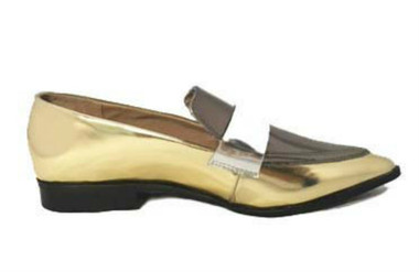 Side View: Women's Shoes, Women's Loafer, Belanger by Jeffrey Campbell Shoes, Mix Metallic Loafer. Color Gold.