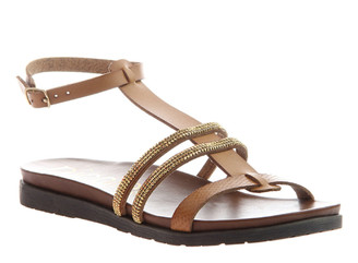 Women's Shoes, Nicole Deva, Flat Sandal with embellished jewel straps, Tan