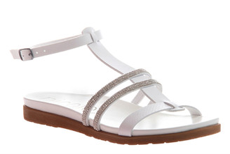Women's Shoes, Nicole Deva, Flat Sandal with embellished jewel straps, White
