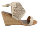 Women's Shoes, Wedge Sandal, Madeline Modern, Wrapped Ankle perforated sandal, Beige, Sand