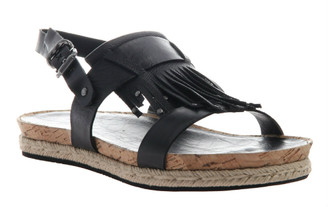 Quarter View: Women's Shoes, Women's Sandal, OTBT Tourist, Flat Tassel Sandal, Cork footbed, Black