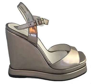Women's Shoes, Jeffrey Campbell Shalimar, Wedge Sandal with ankle strap and peep toe. Metallic Silver.