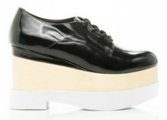 Side View: Women's Shoes, Jeffrey Campbell Digby Wood, Platform Oxford, Black Patent leather, wood & white sole