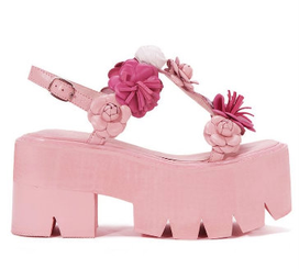 Women's Shoes, Jeffrey Campbell Ivara, Pink Flatform Sandal with leather flowers, Pink