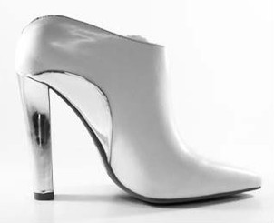 Women's Shoes, Jeffrey Campbell Marino, High Heel Bootie, Silver and White, pointed toe