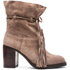 Women's Shoes, Jeffrey Campbell LaForge, Suede ankle boot with fringe tie, slouchy, high heel, Brown Taupe