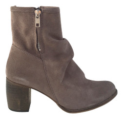Women's Shoes, Jeffrey Campbell 3437-Ki, Suede Ankle boot with double exposed zippers and gathered front. Wooden stacked heel. Taupe.