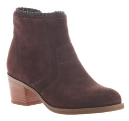 Women's Shoes, Nicole Kadin Ankle Bootie, Suede, Muscat (Burgundy color) Wooden Heel